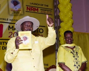 President Y.K Museveni and First Lady, Janet Museveni at the launching of the NRM Manifesto.