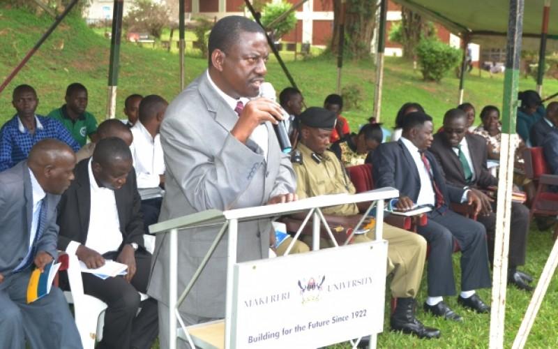 Kabagambe addresses Freshers during the Orientation Ceremony