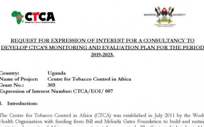 Centre for Tobacco Control in Africa (CTCA) Consultancy Looking For Suitable Candidates for Monitoring and Evaluation Department