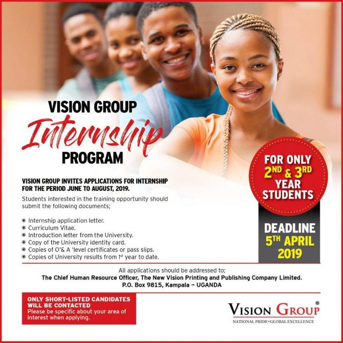 Internship opportunities for University students at Vision Group