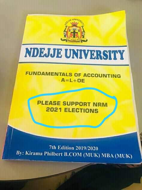 "Ndejje University Lecturer Prints ""Please Support NRM 2021"" on Course Work"