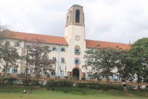 Wide Shot of Makerere University Main Building.
